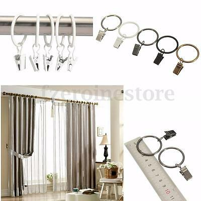 New 40 x METAL CHROME CURTAIN RINGS 25/32MM POLE ROD VOILE NET WITH CLIP HANGING