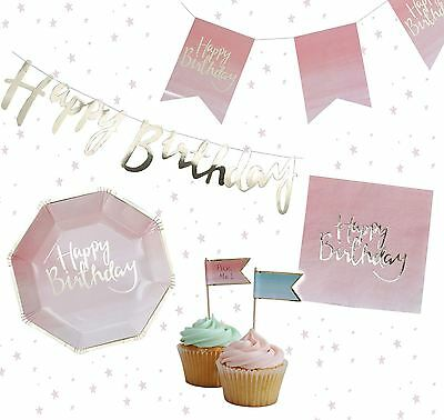 *ginger Ray Happy Birthday Pink Gold Ombre Partyware Party Bunting Decorations*