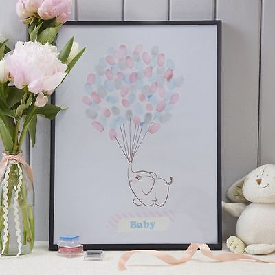 Ginger Ray Baby Shower Nursery Guest Book Christening Elephant Finger Print