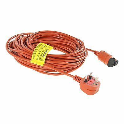 15M Power Mains Cord Cable & Plug for Flymo Lawnmowers Hedge & Grass Trimmers