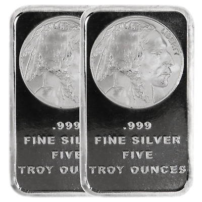 Lot of 2 - 5 Troy Oz Buffalo .999 Fine Silver Bar Sealed