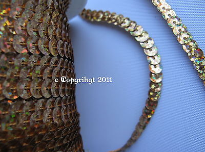 10 Meter Sequin Band Hologram sew on Gold Basic prices Roll 72 Metre