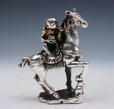 Tibetan Silver Copper Crafted Sculpture Miniature Naughty Monkey Riding Horse
