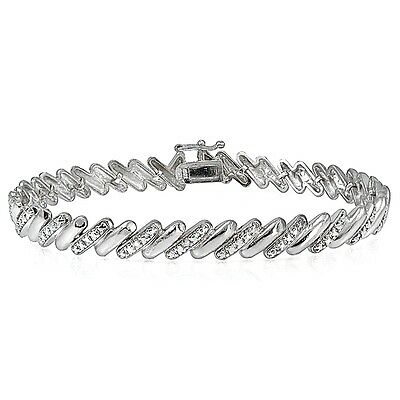 Genuine Diamond Accent San Marco Tennis Bracelet in Silver Tone