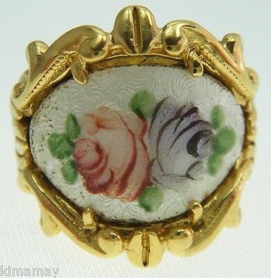 Vintage Hand Painted White Enamel Rose Panel Gold Plated Ring Size 7