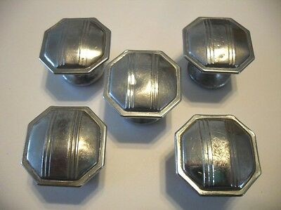 5 VINTAGE Chrome Steel Octagon Knobs w Lines Drawer Cabinet Pulls Stepped Edges