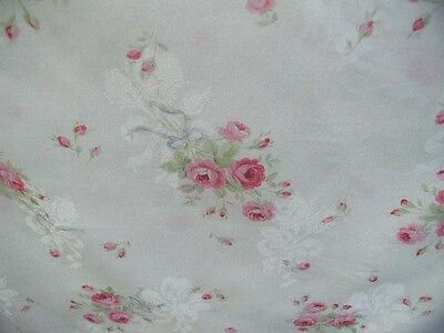 Yuwa Pink Roses Periwinkle Bows on White Jacquard from Antique French Roses 1 Yd