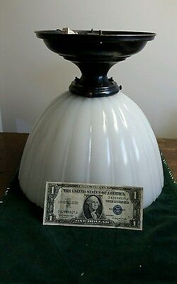 Large vintage 11 1/2 inch industrial milk glass shade and fixture nice!!