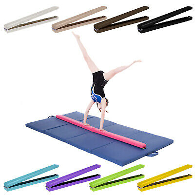 8ft Gymnastics Folding Balance Beam 2.4M Hard Wearing Faux Leather Gym Training