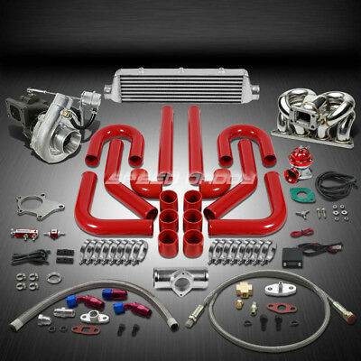 T04 .63Ar 400Hp+11Pc Turbo Charger+Ram Horn Manifold+Intercooler Kit For D15/d16