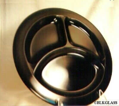 Black Glass 3 Section Grill Plate by  L .E. Smith -  Great For Food Blog Picture