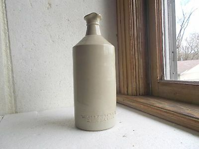 W.ALLEN & CO NY LEDGER INK STONEWARE 1870s MASTER INK BOTTLE WITH POUR SPOUT