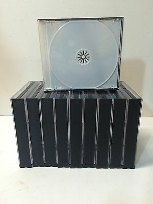 10 Black 3 Disc Jewel Cases With White Insert Trays For CD DVD (J)