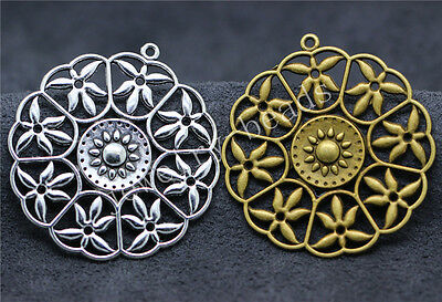 5/26pcs Tibetan Silver Exquisite Big Faceplate Jewelry Charms Pendant 47x44mm