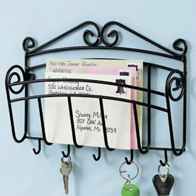 metal Mail Letter & Key Keys Hook hooks Wall Mount Hanging Rack Holder Organizer