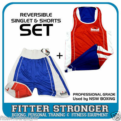 Amateur Boxing SINGLET SHORTS SET RED BLUE reversible S M L XL ANBF NSW STATE