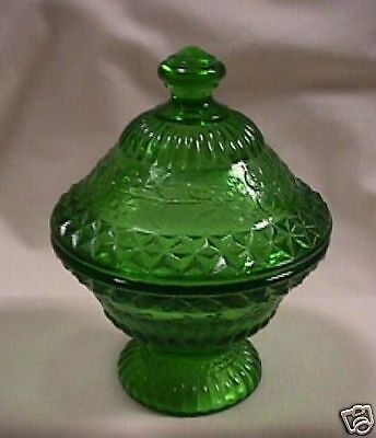 Degenhart Green Covered Candy Dish-Marked with D-SALE