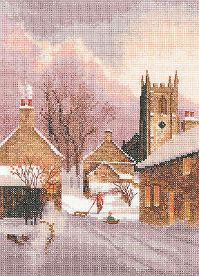 Heritage Crafts Collection Snowy Village Cross Stitch Kit
