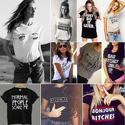 Fashion Womens Summer Casual Tops Funny Letter Blouse Short Sleeve Loose T-shirt