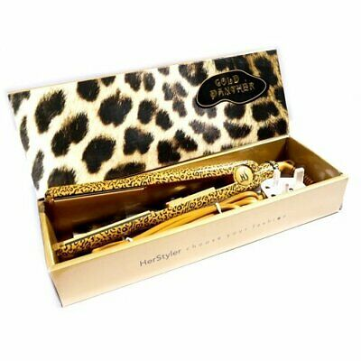 """Herstyler 1"""" Gold Panther Pattern Professional Ceramic Hair Straighteners"""