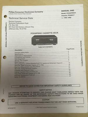 Philips Service Manual for the FC930 PBK01 Cassette Deck
