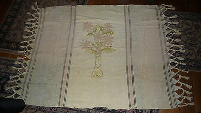 Antique FRINGED TAPESTRY TABLE COVER, THROW Yellow with Chenille Floral Design