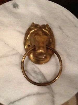 Horse Head Towel Holder Door Knocker Brass Equestrian Vintage 1980s Ring