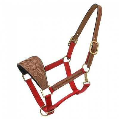 Tough-1 Red Nylon Bronc Halter With Carved Nose and Breakaway Strap