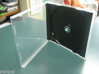 100 New 10.4Mm Single Poly Cd Dvd Cases W/black Tray Assembled Bl1400