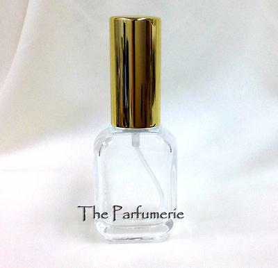 Glass Perfume Atomizer Fine Mist Refillable Gold 15 ml. 1/2 oz. FREE SHIPPING