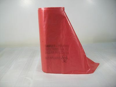 """1 Roll - 25 Bags - Red Bio Hazard Waste/trash Bags Liners 36"""" X 48"""" 44 Gallon"""
