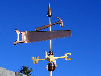 Saw & Hammer Weathervane W/copper Balls & Brass Directionals Made In The Usa