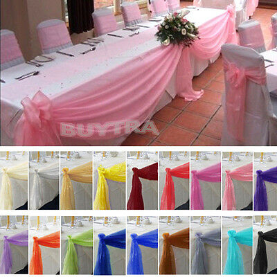 Table Swags Sheer Organza Fabric DIY Wedding Party Bow Decorations   tb