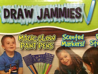 Draw Jammies Girls Pink Set Of Pajamas Scented Sm Med Lg Glow Paint Pens Markers
