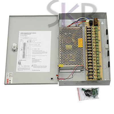 Sikker 18 Port 12v 15A CCTV Cameras Power box supply w/ DC Pigtail Male cable 16