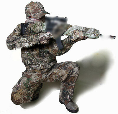 Men Outdoor Camouflage Hunting Clothes Jacket Pants Cap Scarf Ghillie Suit Set