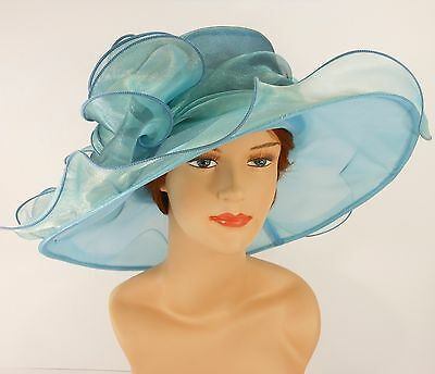 New Church Kentucky Derby Wedding Party Organza  Dress Hat 2967 Turquoise