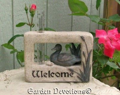 """DUCK IN THE CATTAILS 5"""" Rain Gauge WELCOME Statue Sign"""