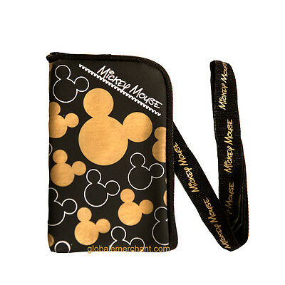 Disney Mickey Mouse Black/gold Lanyard With Detachable Coin Purse