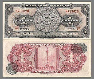 Mexico P59j, 1 Peso,  Aztec Calendar /  Independence Monument  1970 UNC