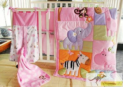New Baby Girls 9 Pieces Cotton Nursery Bedding Crib Cot Sets-- Monkey Animal Zoo