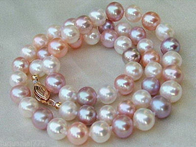 "AAA 8-9 MM white purple pink SOUTH SEA  Multicolor PEARL NECKLACE 18"" 14k"