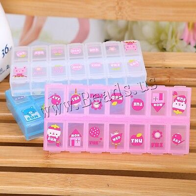 7 Day 14 Cell Tablet Medicine Pill Box Storage Organizer Container Case Color