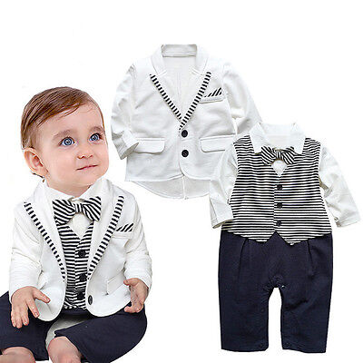 Baby Boys White Cotton Soft Party Wedding Tuxedo Bow Tie Suit (3-18 Months)