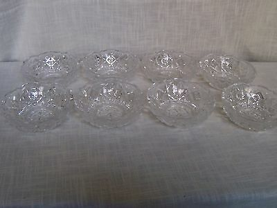 Cut Crystal Glass Pinwheel Star Pattern Dessert Bowls Set of 8