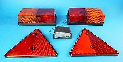 Oblong Rear Light Set with Number Plate Lamp & Reflectors - Trailer