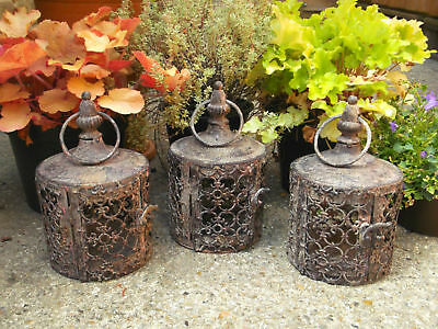 Set of 3 Small Antique Vintage Style Moroccan Lantern Candle Holders Tea Lights