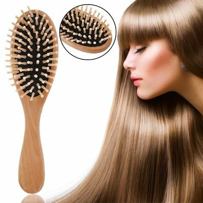 Bamboo WOODEN HAIR BRUSH Oval Pneumatic Massage Comb Small Spherical Wooden NEW