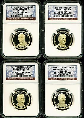 2014 S Ngc Pf69 Ultra Cameo Annual 4 Coin Proof Presidential Dollar Set