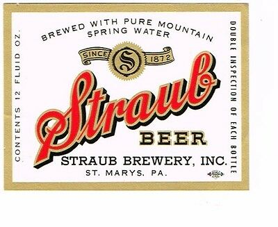 Clean Unused Straub Beer 12oz Straub Brewery Inc St. Mary's PA Tavern TRove